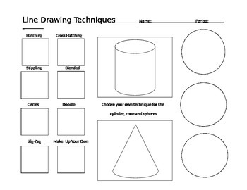 Line Drawing + Blending Techniques Worksheet