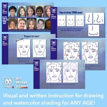 Line Drawing Watercolor Portrait - Cultural Responsiveness PowerPoint Art Lesson