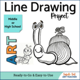 Beginner Line Drawing Art Lesson for Middle or High School