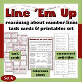 Line 'Em Up reasoning about number lines task cards + printables (set a)