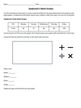 Line Graphs, Stem & Leaf, Mean, Median, Modem & Range Practice