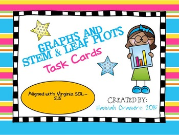 Line Graphs and Stem and Leaf Plot Task Cards