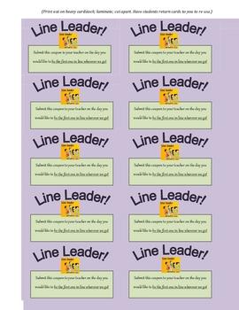Line Leader! Reward Card for Students (Great Incentive!)