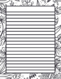 Line Paper Writing FREE -Fancy with Flower Background Black and White 8.5x11 PDF
