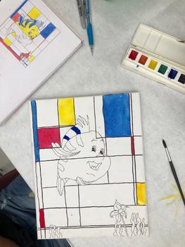 Line & Piet Mondrian Notes / Piet Mondrian Inspired Cartoon Project