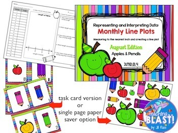 Line Plot Math Center Fall Bundle of 8: Measure & Interpret Data 3.MD.B.4