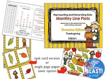 Line Plot Math Center Fall Bundle of 8: Measure & Interpret Data 3.MD.B.4