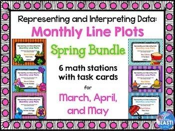 Line Plot Math Center Spring Bundle of 6: Measure & Interpret Data 3.MD.B.4
