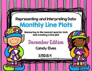 Line Plot Math Center Task Cards December #2: Measure & Interpret Data 3.MD.B.4
