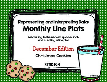 Line Plot Math Center Task Cards December: Measure & Interpret Data 3.MD.B.4