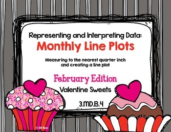 Line Plot Math Center Task Cards February #2: Measure & Interpret Data 3.MD.B.4