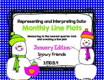 Line Plot Math Center Task Cards January: Measure & Interpret Data 3.MD.B.4