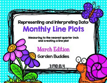 Line Plot Math Center Task Cards March #2: Measure & Interpret Data 3.MD.B.4