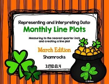 Line Plot Math Center Task Cards March: Measure & Interpre
