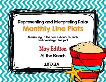 Line Plot Math Center Task Cards May: Measure & Interpret Data 3.MD.B.4