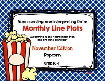 Line Plot Math Center Task Cards November #2: Measure & Interpret Data 3.MD.B.4