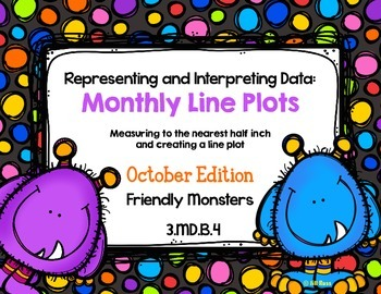 Line Plot Math Center Task Cards October: Measure & Interpret Data 3.MD.B.4