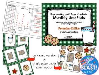 Line Plot Math Center Winter Bundle of 6: Measure & Interpret Data 3.MD.B.4