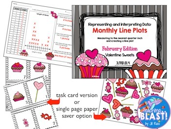 Line Plot Math Center Year Long Bundle of 20: Measure & Interpret Data 3.MD.B.4
