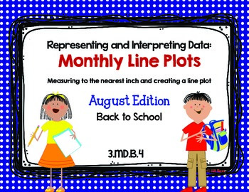 Line Plot Math Center Task Cards August #2: Measure & Inte