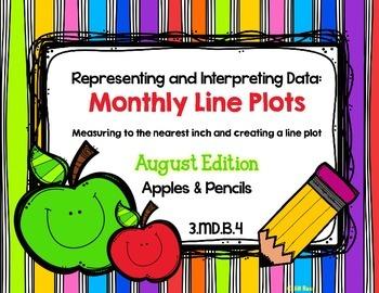 Line Plot Math Center Task Cards August: Measure & Interpr
