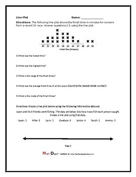 Line Plot Packet (Three Worksheets)