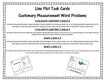 Line Plot Task Cards: Customary Units