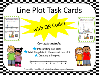Line Plot Task Cards with QR Codes
