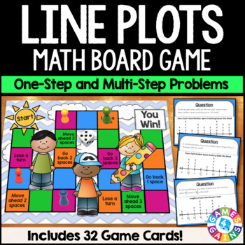 Line Plots with Fractions and Whole Numbers Board Game {3.MD.4}
