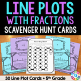 5th Grade Line Plots Task Cards: Line Plots with Fractions {5.MD.2}