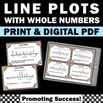 Line Plots Task Cards, 2nd Grade Math Centers, Line Plots Games SCOOT