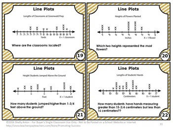 Line Plots with Fractions Task Cards, 4th Grade Math Review