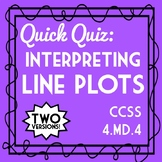 Interpreting Line Plots Quiz, 4th Grade 4.MD.4 Assessment, Includes Two Versions