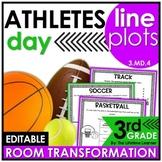 3rd Grade Line Plots  - Sports Athletes Classroom Transformation