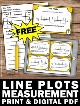 FREE Download Line Plot Task Cards, 2nd Grade Math Review, Math Stations