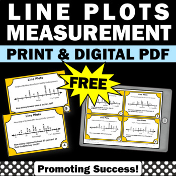 FREE Line Plot Activities with Task Cards, 2nd Grade Math Review
