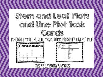 Line Plots and Stem and Leaf Plot Task Cards