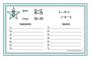 Segments Properties Proofs Task Cards (Segment Addition Postulate & Midpoint)