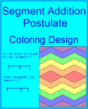 line segments segment addition postulate coloring activity 1 - Segment Addition Postulate Worksheet