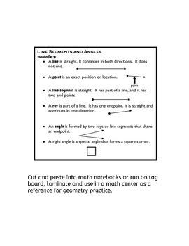 Line Segments and Angles Vocabulary for Third Grade