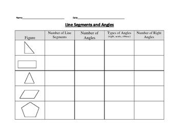 Line Segments and Angles chart