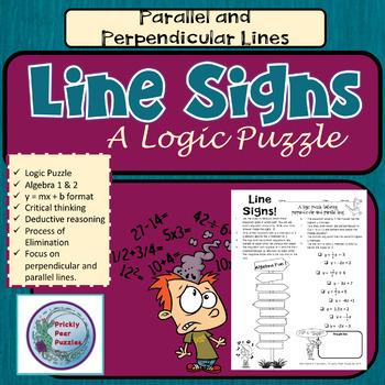 Line Signs, Algebra Logic Puzzle, Parallel & Perpendicular Equations
