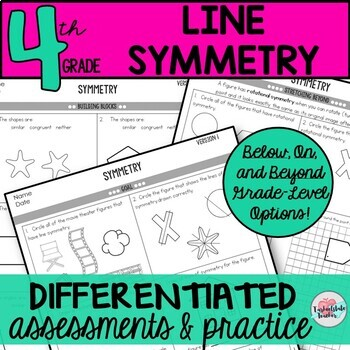 Line Symmetry Worksheets Tests 4th Grade Geometry 4.G.3 (d