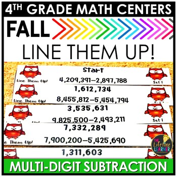 Line Them Up Subtraction September Math Center