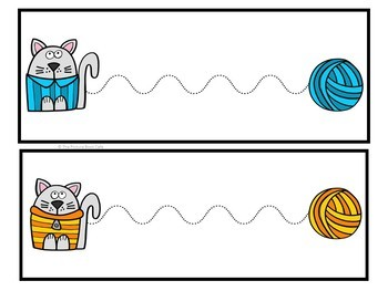 Line Tracing Task Cards-Sweater Cats