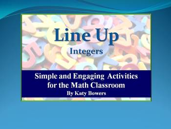Line Up Activity - Integers (Adding, Subtracting, Multiply