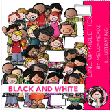 Line Up clip art - Kidlettes - BLACK AND WHITE- by Melonheadz