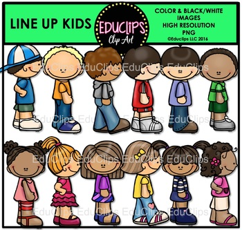 Line Up Kids Clip Art Bundle {Educlips Clipart}