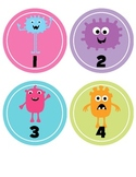 Line Up Numbers for classroom floor BRIGHT colors- Monster