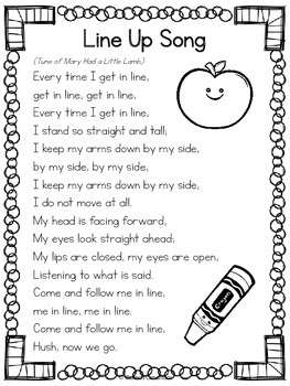 Line Up Song - To the Tune of Mary Had a Little Lamb {FREE}